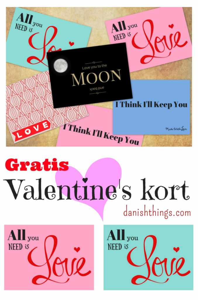 Gratis Valentines kort - kærlighed - find inspiration og gratis print på danishthings.com © Christel Danish Things