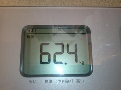 ダイエット8日目の実測体重