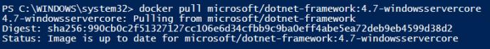 Pull microsoft/dotnet-framework:4.7-windowsservercore