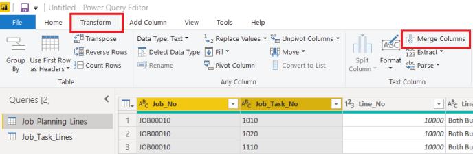 Transform - merge columns