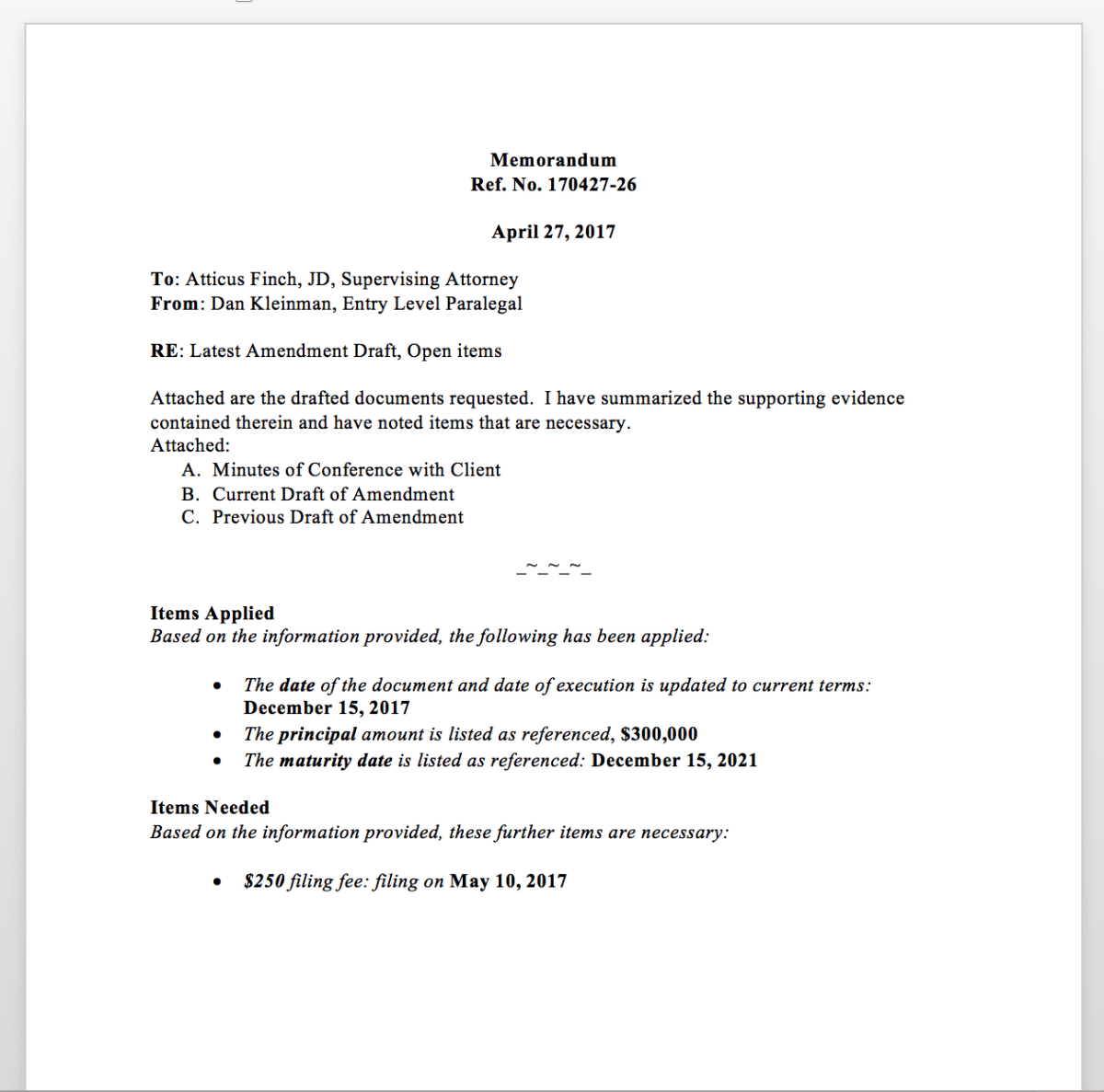 executive summary memo