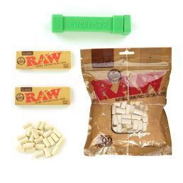 200 Raw Pure Cotton Filters with Raw Classic 1 1/4 Rolling Papers, and Dank Paper 1 1/4 Cigarette Size Cannagar Packer Rolling Machine Bundle, Complete Set