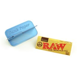 Dank Paper Portable Rolling Machine Card with Raw Classic 1 1/4 Rolling Papers – 79mm