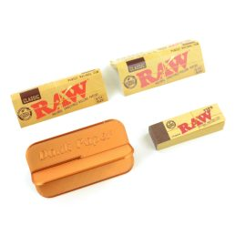 2 Raw Classic 1 1/4 Rolling Papers with Raw Classic Tips and Dank Paper Portable Rolling Machine Card