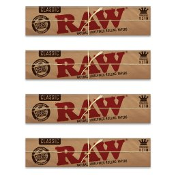 RAW Classic King Size Slim Rolling Papers – 4 Pack
