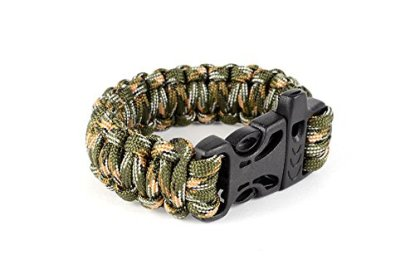 Paracord Tactical Survival Bracelet With Whistle Buckle In Green