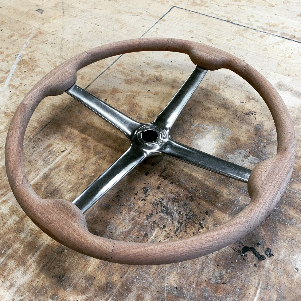 Vintage wooden 4 spoke steering wheel