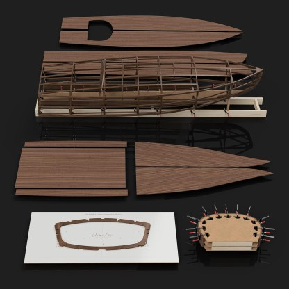 Rocket MkII Gentleman's Race Boat Building Kit CNC cut wooden boat building kits in the UK Rocket MkII Kit