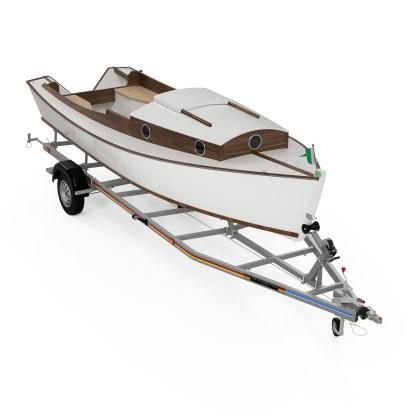 Waterman boat building plans and kit small tiller steered fishing skiff IIII
