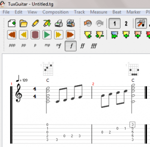 TuxGuitar tablature editor