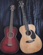 Small guitar next to larger guitar