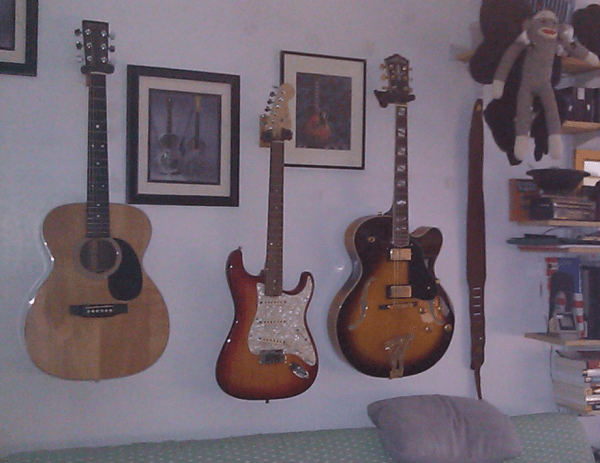 Guitars on wall in my study