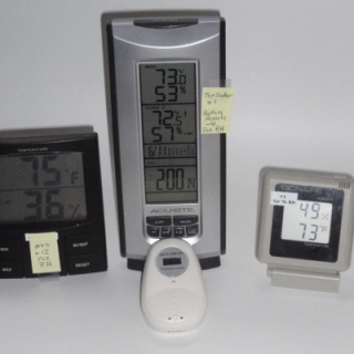 Four hygrometers - each read different %RH