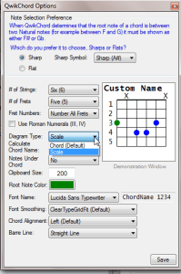 QwikChord Options showing selection of Chord or Scale mode