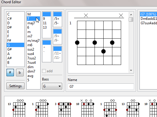 TuxGuitar chord library