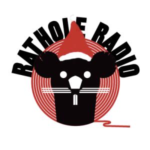 Christmas cover art. Rathole Radio mascot with a santa hat on.