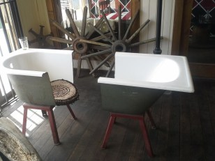 Puerto Natales. These are two chairs made from an old bathtub. They´d somehow cut the tub in two without chipping the enamel.