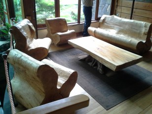 Puella. Seats carved from trees. I assume the large chain saws were used. They were really quite comfortable.