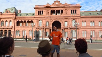 The presidential palace. The color comes from cow´s blood mixed into the concrete.