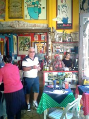 A colorful cafe in the town where the ferry lands, Colonia
