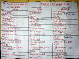 The translation sheet we were given so we could speak a little Quechua