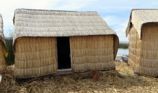 A house made of tortura reed. Note how additional layers raise the house. Inside we saw beds made of tortura reed too.