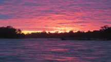 Incredible sunrise over the madre de dios river