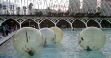 People in water balls, Valencia