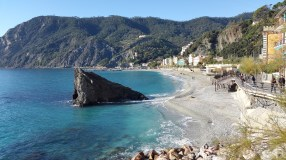 Cinque Terre - Our hotel was on the beach overlooking this big rock in Monterosso