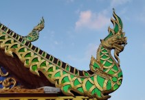 Colorful dragon decoration on Chiang Mai temple