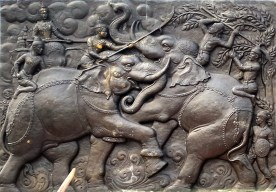 Elephants were used to fight in wars. How do you think that the guys in the back held on?