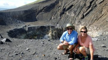 Char and Dan on the rim of the crater.