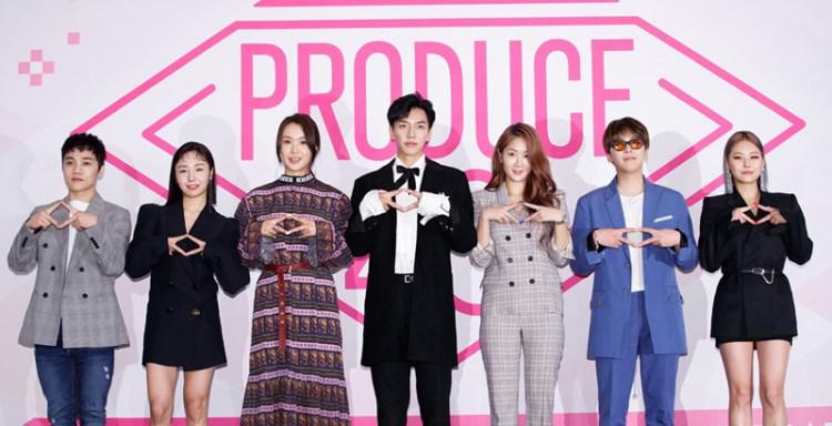 PRODUCE48のメンター 右から1番目がCheetah,2番目がイ・ホンギ