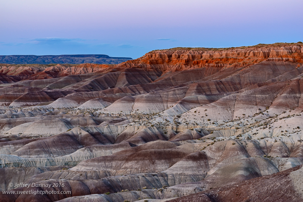 (7:01 pm) The Blue Hour - the sky turns purple & blue, and the colored desert reflects the fading light