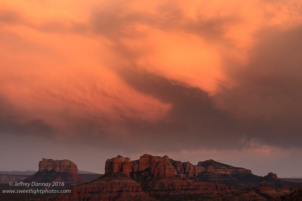 The rocks may not have been as red as desired but the clouds certainly were