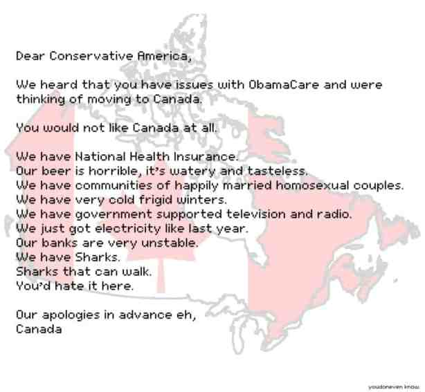 American conservatives moving to Canada because of ObamaCare