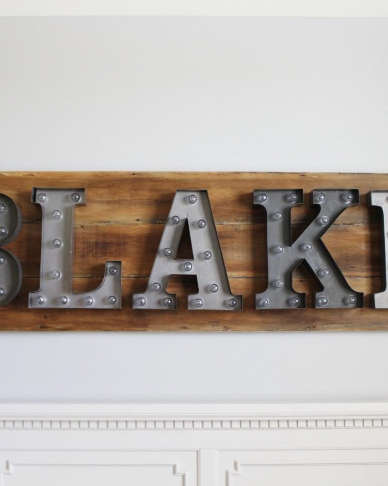 wood sign; letter lights