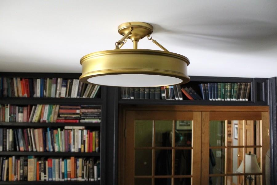 Shades of Light; Traditional urban semi-flush light; antique brass
