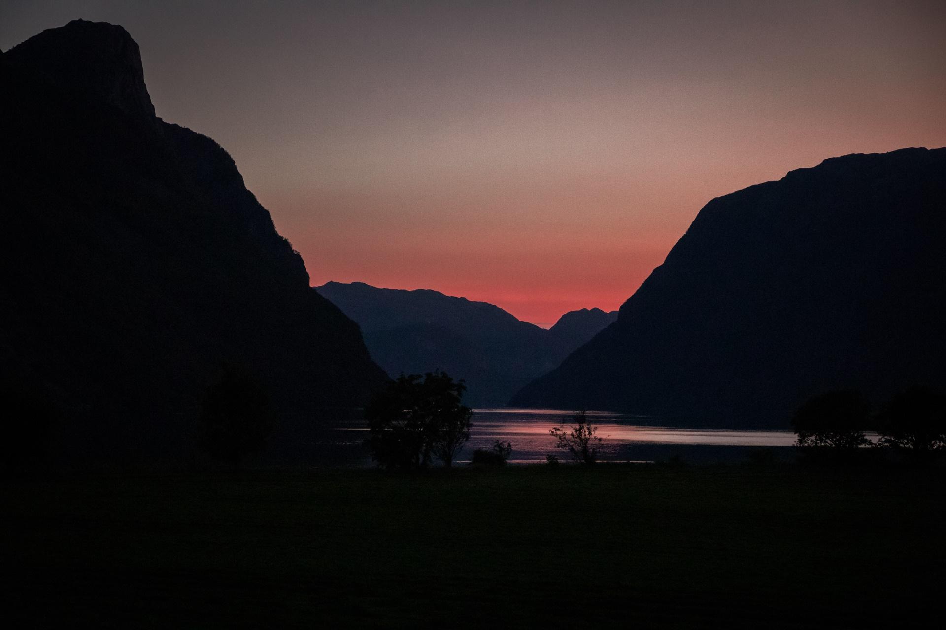 traveling sunset fjord Norway