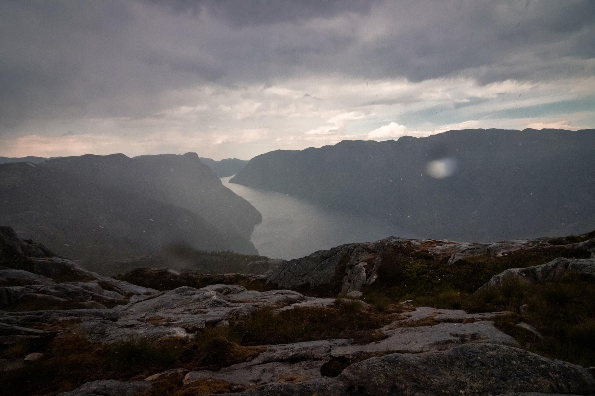 traveling fjord rainstorm Norway