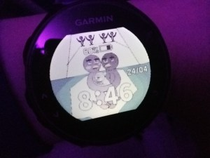 A Garmin watch. On the screen there is a cartoon picture of penguins, with the time below, the battery meter above and date to the right.