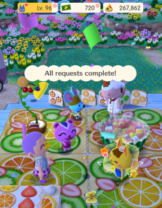 A screenshot from Animal Crossing Pocket Camp, where there is a celebration for completing an event.