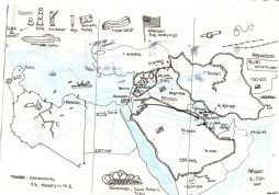 The sketch for a giant map of the middle east uprisings I did for this class.