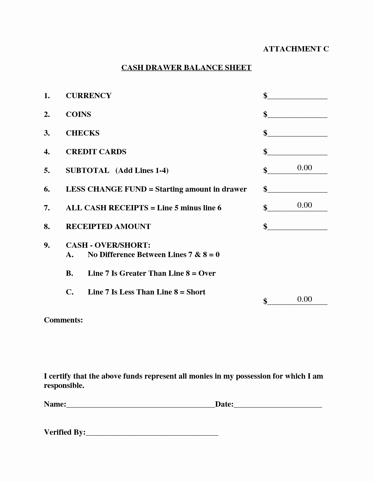20 Cash Register Count Sheet