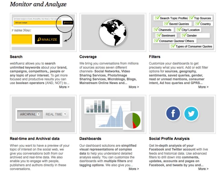 Webfluenz monitor and analyze