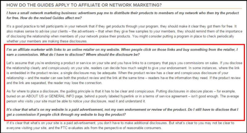 FTC affiliate guidelines