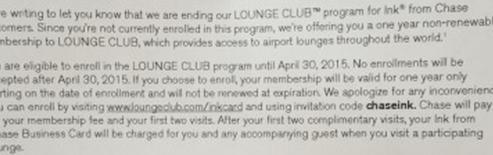 Chase Ink - Lounge Club Membership