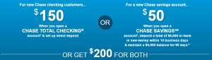Chase offer 150 plus 50