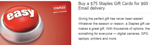75 Staples Gift Card