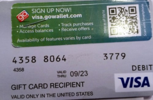visa gc scratched